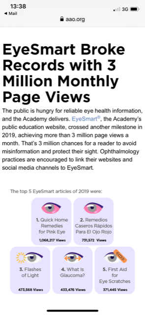 American Academy of Opthalmology Website on mobile - Page views