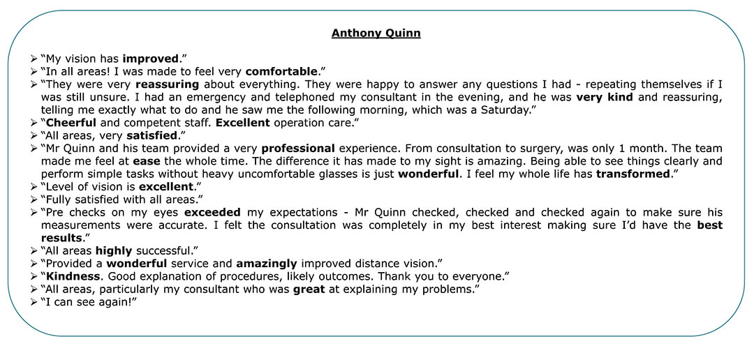 Exeter Eye - Anthony Quinn - Patient Feedback April - June 2021