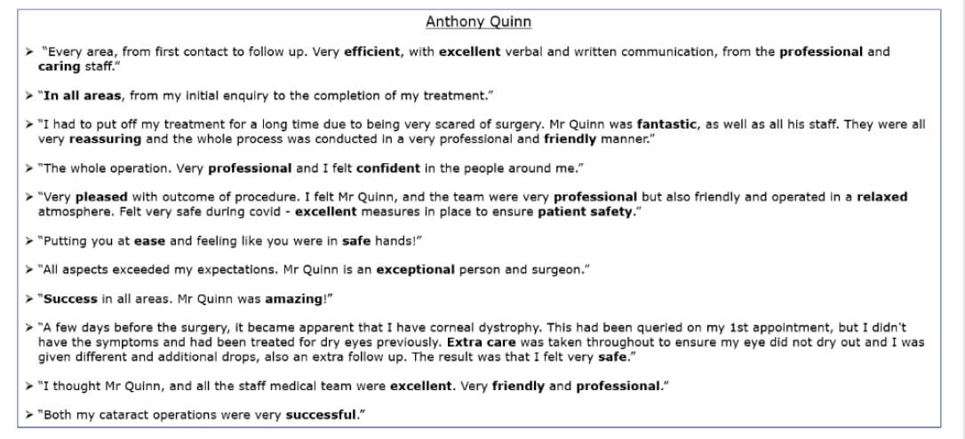Exeter Eye - Anthony Quinn - Patient Feedback - Patient Feedback Jan-March 2021.