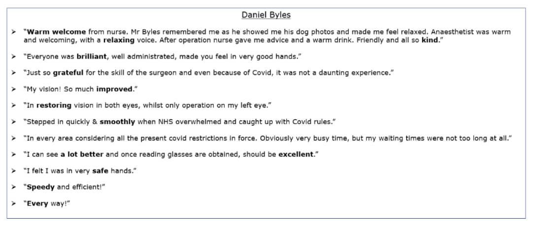 Exeter Eye - Daniel Byles - Patient Feedback - Patient Feedback Jan-March 2021.