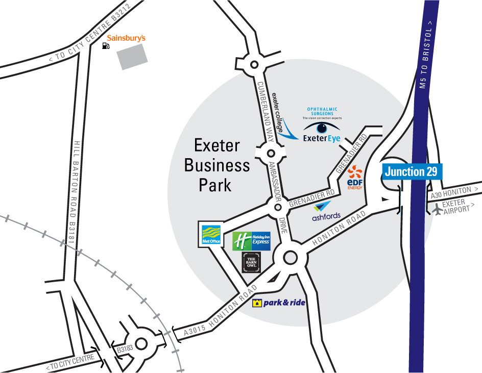 Exeter Eye Map for Exeter Eye website