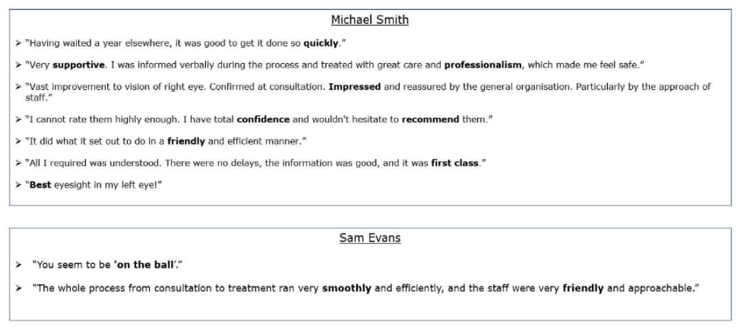 Exeter Eye - Michael Smith & Sam Evans - Patient feedback - Patient Feedback Jan-March 2021.