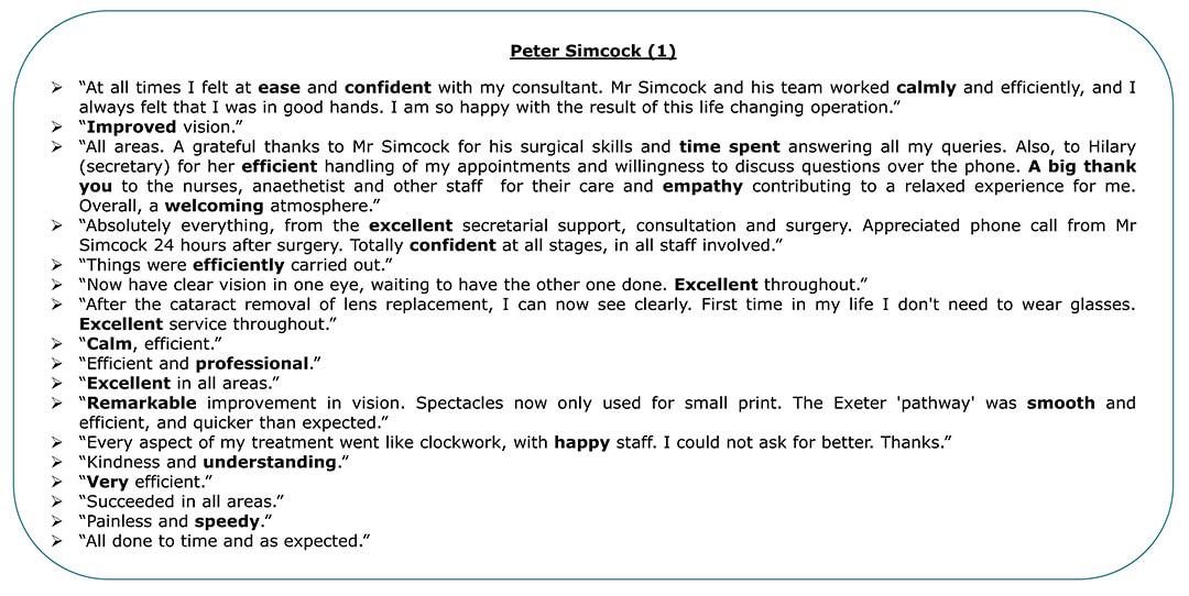 Exeter Eye - Peter Simcock 1 - Patient Feedback April - June 2021
