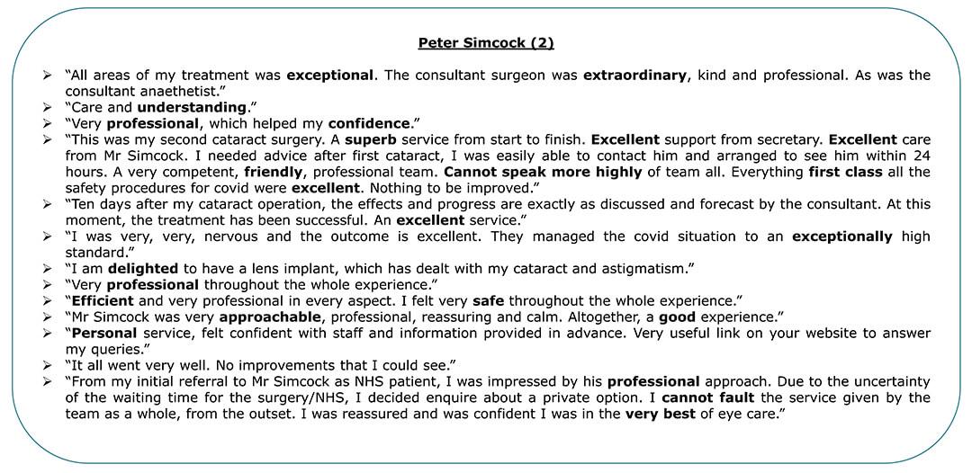 Exeter Eye - Peter Simcock 2 - Patient Feedback April - June 2021